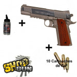 Pack Colt 1911 rail gun Stainless Culasse fixe - CO²
