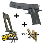 Pack Colt 1911 rail gun blackened Fullmetal Blowback Co² - Deluxe